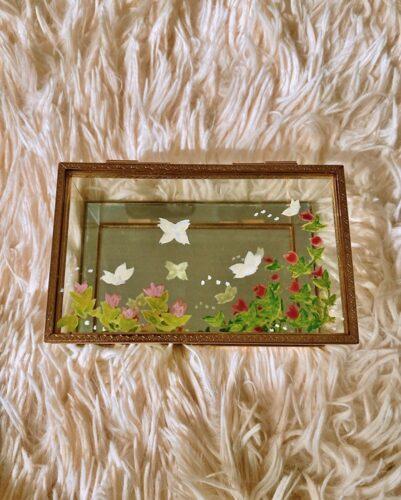 Projet pour fête des mères : de décoration florale et printanière d'un coffret à bijoux 1