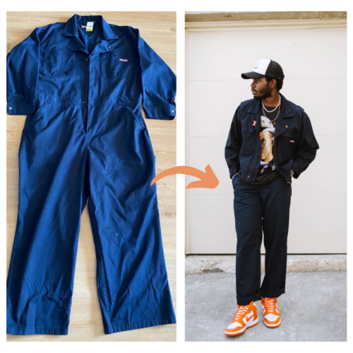 Confectionner une veste bleu de travail