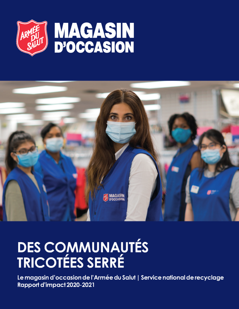 Thrift Store Annual Impact Report Cover in French